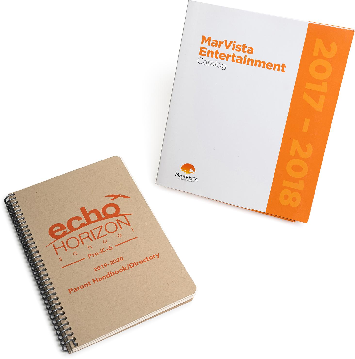 Educational institutions spiral bind, saddle stitch, handbook, catalog, digital
