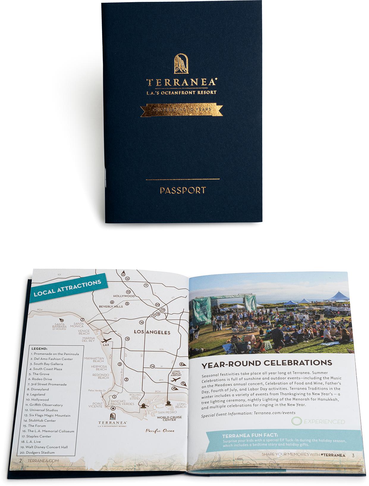 Travel resort saddle stitch, catalog, program, foils