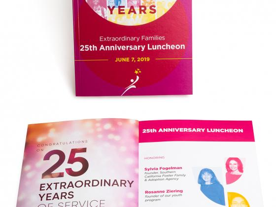 Anniversary event luncheon perfect bind, tribute book, program